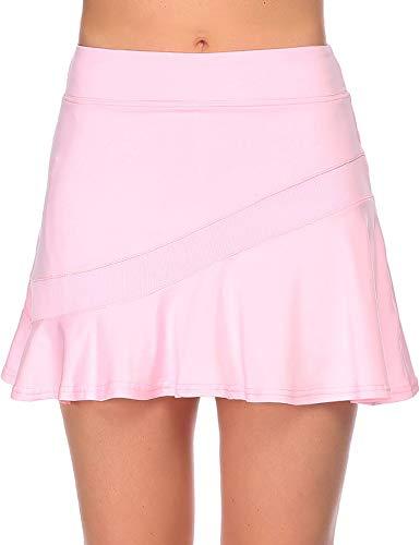 Ekouaer Tennis Skirt Women Running Tennis Skort Basic Gym Fitness Casual Workout Golf Outfit,XL Pink