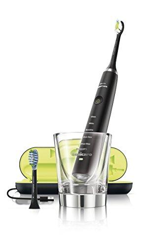 Philips Sonicare DiamondClean Black Elektrische Zahnbürste mit Schalltechnologie HX9382/36, Ladeglas und USB-Reiseladeetui, schwarz