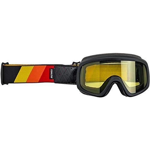 Biltwell O2-TRI-BK-RD Unisex-Erwachsene Overland 2.0 Tri-Stripe Goggle-Satin Schwarz Rot Gelb Orange Einheitsgröße