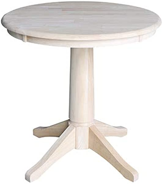 International Concepts K 30RT 27B 30 Round Top Pedestal Table 28 9 H Unfinished