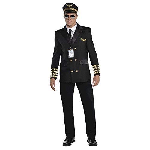 amscan 846923-55 Adults Costume in Black with Pilot Hat and Lanyard-Size PC Pilotenkostüm für Erwachsene in Schwarz mit Pilotenhut und Umhängeband – Größe XL – 1 Stück, Mehrfarbig