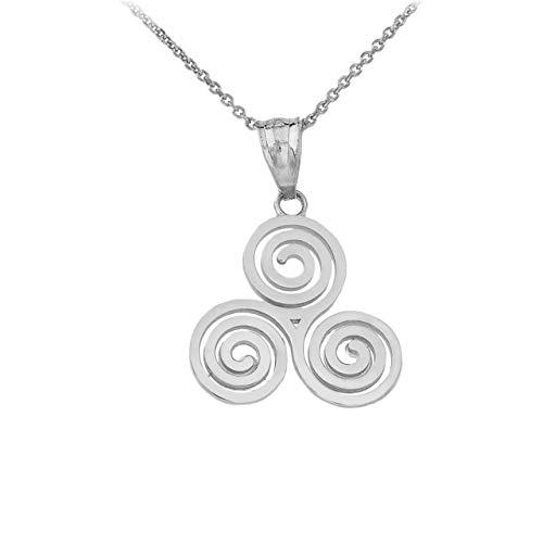 925 Sterling Silver Celtic Irish Triskele Triple Spiral Charm Pendant Necklace, 16'