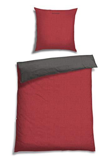 Schiesser Wendebettwäsche Doubleface Rot-Anthrazit, 100% Baumwolle, Größe:135 x 200 cm + 80 x 80 cm