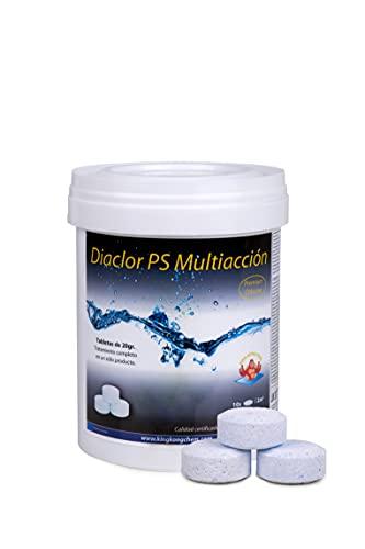 Cloro Piscinas Pequeñas DIACLOR PS MULTIACCIÓN 1 KG - 50 Pastillas de Cloro 5 Acciones (20 gr - Diámetro Pastilla 3 cm) - Tratamiento Completo Multiacción