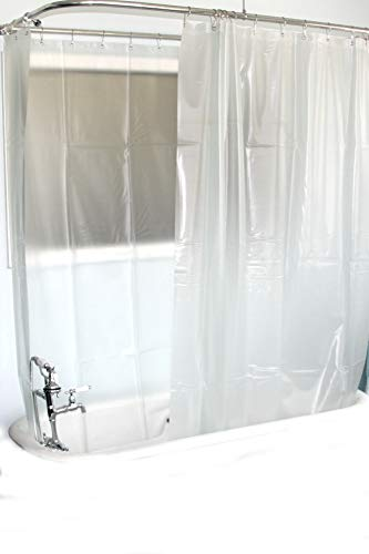 D&L Extra Wide Vinyl Shower Curtain for a Clawfoot Tub/Opaque with Magnets 180' X 70'