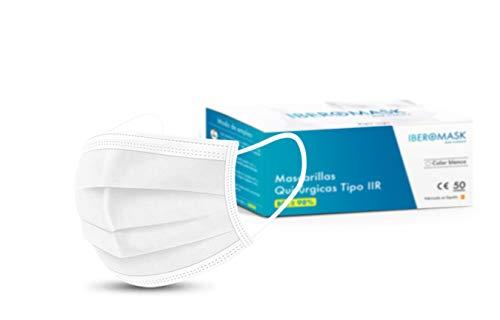 IBEROMASK Mascarilla Quirúrgica Tipo IIR. Made in Spain. Homologadas. BFE ? 98% Caja 50 Unidades (Blanco)