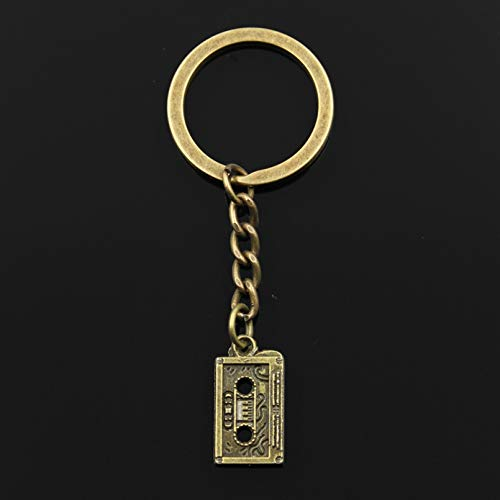 LEILIANG Fashion 30mm Key Ring Metal Key Chain Keychain Jewelry Bronze Silver Color 80's Cassette Tape 23x12mm Pendant