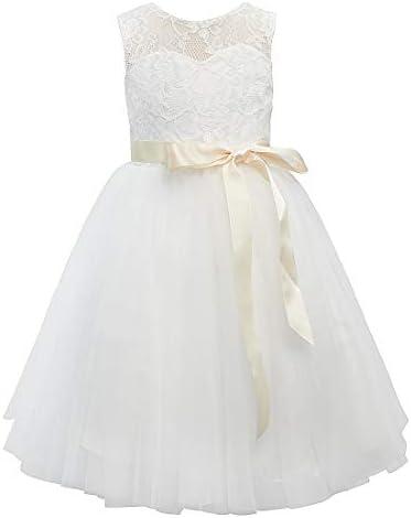 Miama Ivory Lace Tulle Knee Length Wedding Flower Girl Dress Christening Communion Dress 3T product image