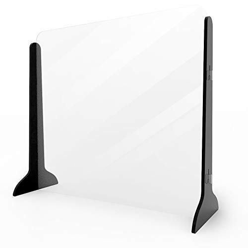 Sneeze Guard Shield,Reception Screen Isolation Baffle ,Counters Protection Screen with Transfer Hatch,Portable Countertop Screen,Antispray Desk Divider,Clear Acrylic Barrier Partition (W50 * H40 cm)