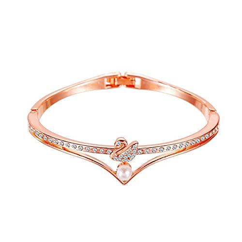 ShZyywrl Pulsera Pulsera Geométrica Cruz Oro Rosa Estrella De Cinco Puntas Cristal Metal Charm Pulsera Mujer Regalo 3