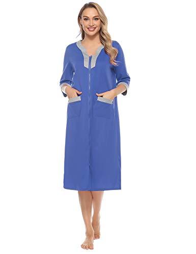 Doaraha Women Zipper Front Robes Half Sleeve Loungewear Full Length Nightgowns Long Housedress House Coat with Pockets S-XXL Blue