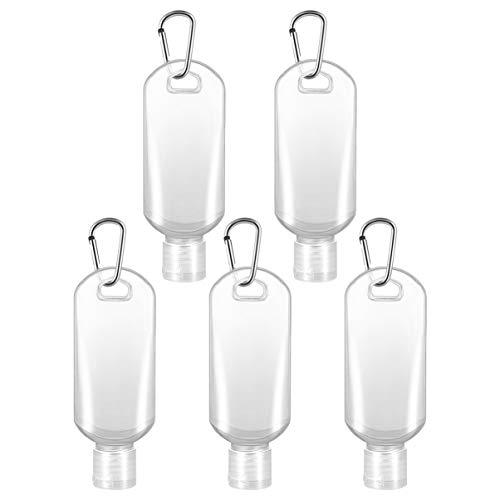 Cabilock 5 Stück 50 ml Flaschen wiederaufladbar mit Haken Reise Desinfektionsmittel für Hände leere Flaschen transparent Inhalt Flüssigseife (zufällige Farbe)