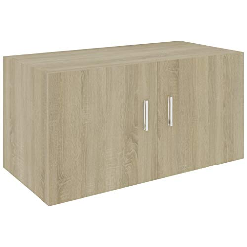 vidaXL Wandschrank mit 2 Türen Hängeschrank Wandregal Bücherregal Badschrank Schrank Aktenschrank Oberschrank Sonoma-Eiche 80x39x40cm Spanplatte