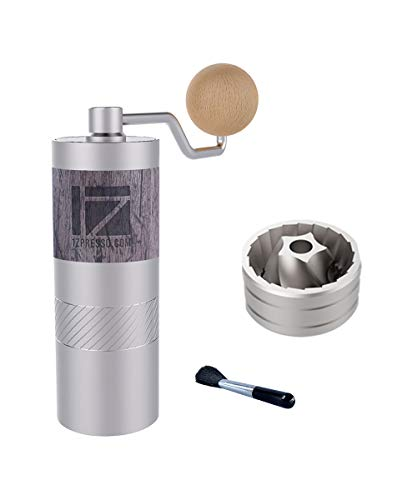 1Zpresso Q2 Manual Coffee Grinder Mini Slim Travel Sized Fits in the plunger of AeroPress, Stainless Steel Conical Burr, Numerical Internal Adjustable Setting Coarse for Filter