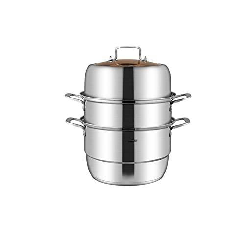 Steamer in Acciaio Inossidabile, 3 Livelli Food Steamer Steamer Pan, Grandi Vapore con Coperchio in Vetro Sfiato, Lavastoviglie(Size:28cm)