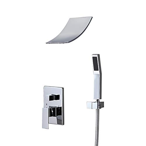JiaYouJia Shower System with Waterfall Showerhead and Hand Shower