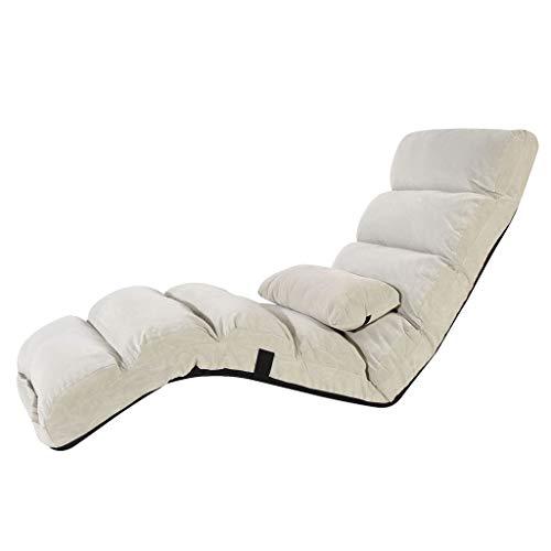 Floor Chair, Faltbare Lazy Couch Tatami Einzelner Stuhl Schlafzimmer Erker Lounge Sessel, Lesezeitung/Freizeit (Farbe : Weiß, größe : 175cm*56cm*20cm)