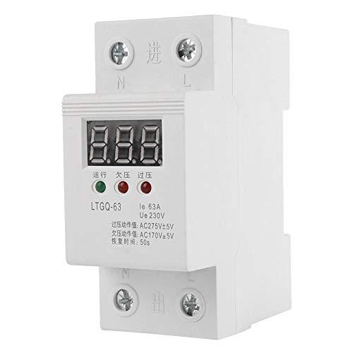 Haus Überspannungsschutz, 230V AC 2P/63A Unterspannungsrelais Unterspannungsschutz, Automatisches Wiederverbinden Spannungsrelais, Digitalanzeige überspannungsschutz Hutschiene