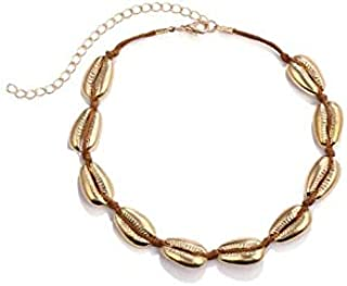 Bohemian style necklace handmade string alloy shell necklace