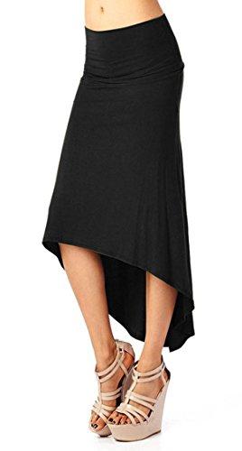 Avitalk - Falda Larga Media de Tubo Verano Falda Plisada Elástico para Mujeres Estilo Casual Vestido Playa - Negra - Talla S(ES 36)