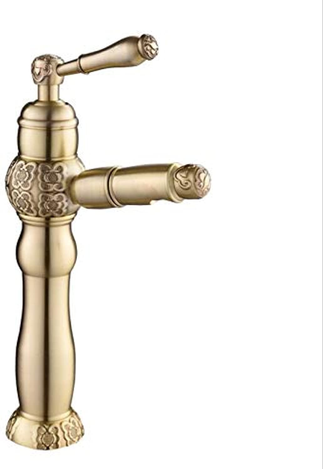 Decorry Water Tap Black Oil Washroom Basin Faucet Sink Tap Mixer Hot & Cold Bathroom Faucet Pull Out Sink Faucet Torneira Lavatorio,Antique Brass Tall