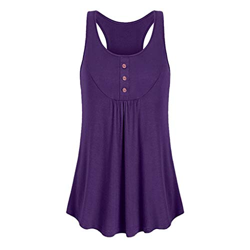 Price comparison product image Todaies Sleeveless Round Neck Tank Top,  Womens Loose Fit Workout Tank Top Button Sport Vest (XL,  Purple)