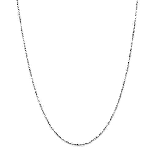 Oro bianco 14K WG 1.30mm corda catena machine-made