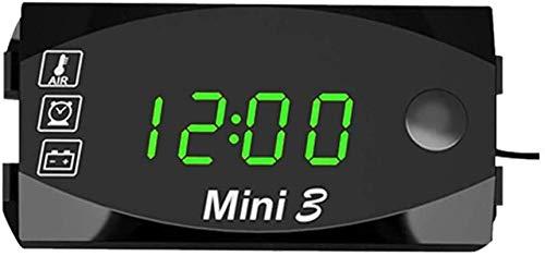 多機能車のデジタル時計自動温度計モニター電圧計時計車のオートバイ用LEDディスプレイ 防水 温度計 (緑)