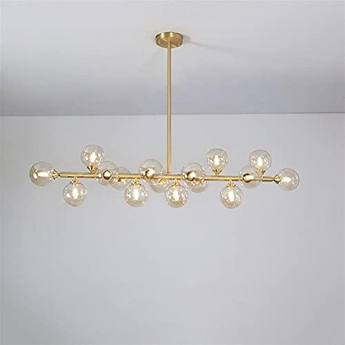 HOIHO 16 Lights All Copper Nordic Hanging Light, LED Glass Lampshade 112cm Dining Room Chandelier, Boom Adjustable Living Room Hotel Decoration Lighting (Color : Brown, Size : 3 Color Light)