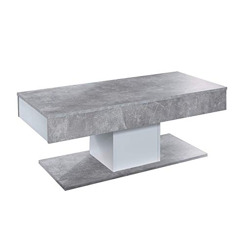 trendteam smart living Wohnzimmer Couchtisch Wohnzimmertisch Universal, 110 x 42 x 50 cm Beton Stone Absetzung Weiß mit viel Ablagefläche