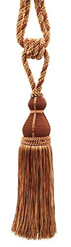 Elegant Brown, Light Gold Curtain & Drapery Tassel Tieback / 28cm tassel, 76cm / Spread (embrace) Style/ Style# TBH15 - English Toffee 08