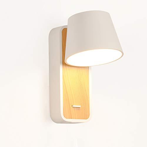 BarcelonaLED Lámpara Aplique de pared LED blanco con base de madera, foco aluminio orientable de 6W blanco calido 2700K e interruptor para Dormitorio Cama Cabecero Lectura Salón