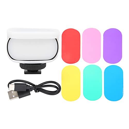 FOLOSAFENAR Mini luz de Video LED, 5000K-6000K 95+ Luz Suave de Bolsillo portátil de Alto Brillo Orificio de Tornillo de 1/4 Pulgada con Carcasa Protectora de Silicona para cámaras