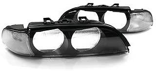 97-00 BMW E39 5-SERIES EURO CLEAR CORNER REPLACEMENT HEADLIGHT LENSES W/ FRAMES