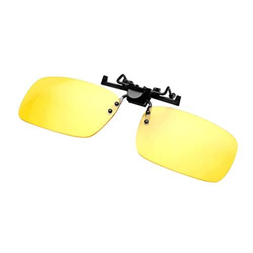 Vosarea Polarisierter Clip auf Sonnenbrillen Unisex Frameless Flip Up Clip auf Sonnenbrillen Brillen Nachtsichtbrillen zum Autofahren Angeln Reisen (Gelb)