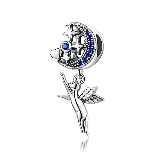 Flying Cat Blue Star Moon Colgante De Plata De Ley 925 para Pulsera Original Brazalete con Cuentas para Mujer Regalo Joyería Que Hace Cuentas Sueltas DIY