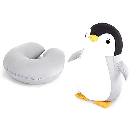 Almohada cervical de espuma viscoelástica, regalo de viaje para niños y adultos, para oficina, casa, escuela, viajes en coche, avión, tren (pingüino)