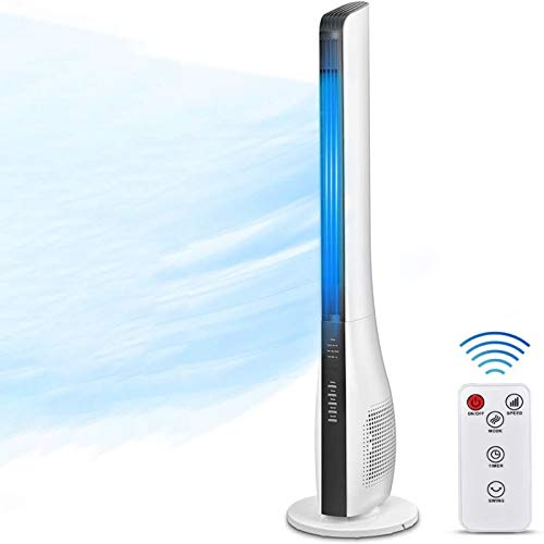 Tower Fan, 43 Inch Bladeless Oscillating Quiet Tower Fan with Remote Control, up to 7.5 Hour Timer, Air Circulator with 3 Speed & 3 Wind Mode, Whole Room Cooling Fan for Bedrooms, Living Rooms, Kitchen, Office