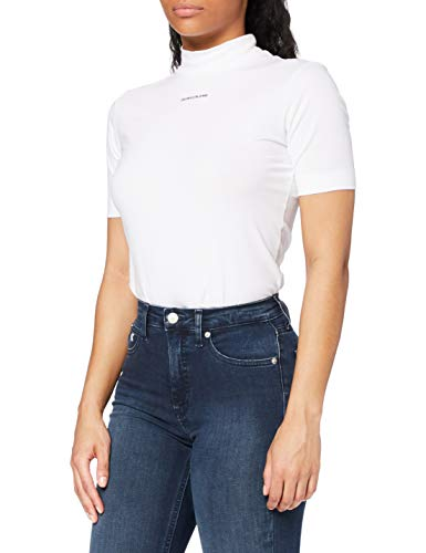 Calvin Klein Jeans Damen Micro Branding Stretch Mock Neck T-Shirt, Bright White, Small