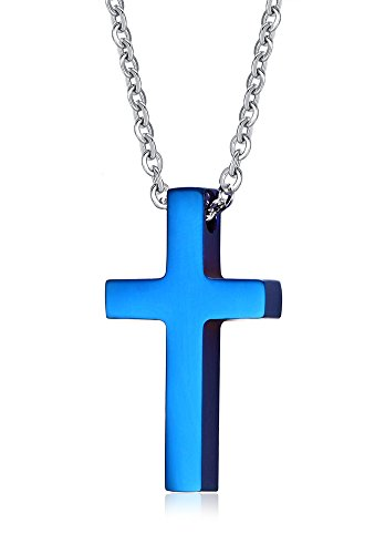 VNOX Edelstahl mittlere einfache Kreuz Anhänger Halskette für Männer Frauen Taufe blau,freie Kabel Kette