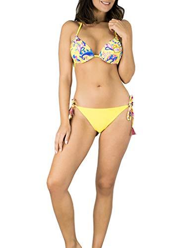 Bikini Push Up Amarillo Estampado de ☀ Vissteme
