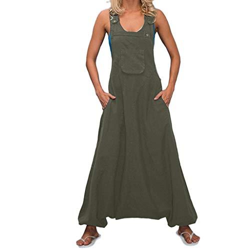 STRIR Mujer Baggy Peto de Pantalones Largos Gasa Mono Harem Anchos Talla Grande Casual Moda Bolsillos Tiras Fiesta (S, Verde)