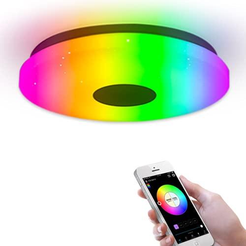 Luz de Techo Inteligente Montaje Empotrado WiFi Compatible Con Alexa Google Home Lámpara de Ambiente Regulable de Bajo Perfil Para Dormitorio, Sala de Estar 36W
