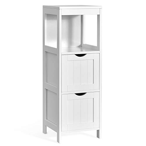 Tangkula Bathroom Floor Cabinet, Multifunctional Wooden Storage Cabinet with 2 Removable Drawers, Open Shelf, Sturdy Side Cabinet with Anti-Tilt Design for Bathroom Living Room Bedroom (White)