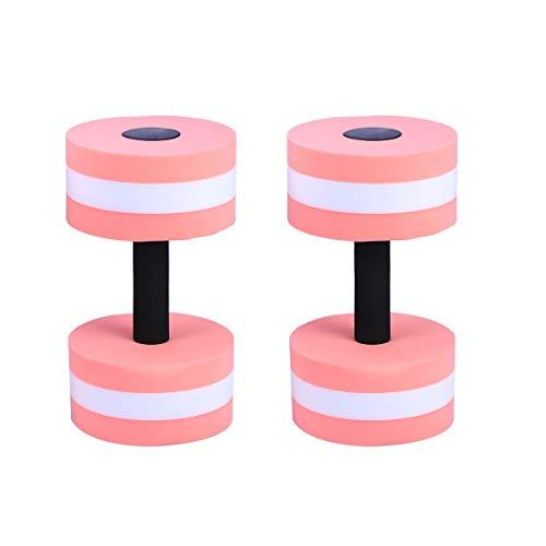 LIOOBO Hanteln Aquahanteln Aquahantel mit Schlaufengriff für Wasser Fitness Aquagym Aquajogging 2 Stück (Rosa)