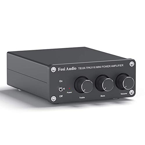 Fosi Audio TB10A - 2 Channel Stereo Audio Amplifier Receiver, Mini Hi-Fi Class D Integrated TPA3116 Amp for Speakers 100W x 2, with Bass and Treble Control (with 24V UK Power Supply)