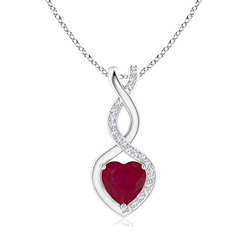 Ruby Infinity Heart Pendant with Diamonds in 14K White Gold (6mm Ruby)