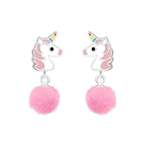 Tata Gisele - Pendientes infantiles de plata 925/000 rodiada y epoxi – unicornio blanco y rosa, pompón rosa claro – 24 mm