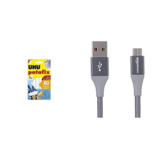 UHU Patafix 41710 - Gomma Adesiva Removibile, Bianco, Confezione da 80 Gommini & AmazonBasics - Cavo da USB 2.0 A a Micro B, in Nylon a Doppio Intreccio | 0,9 m, Grigio Scuro