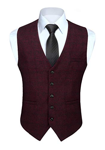 HISDERN Gilet pour Homme Classique Carreaux Gilets Bourgogne Coton Casual Mariage Costume Gilet avec Poche M